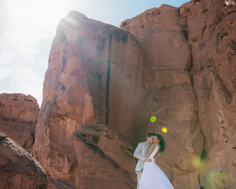 Flowing dress, red rock, valley of fire